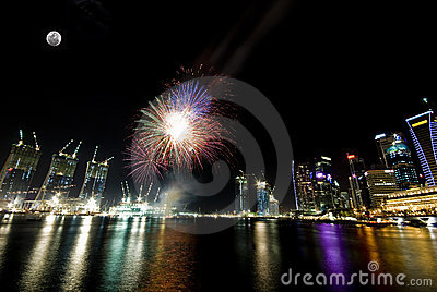 Fire work at Singapore esplanade