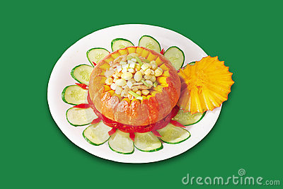 Chinese Cuisine,Pumpkin cooked corn kernels
