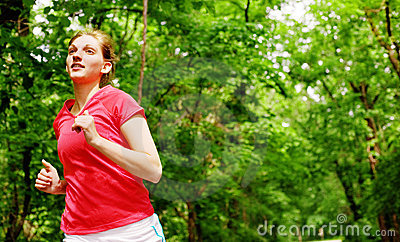 Woman In Red Running