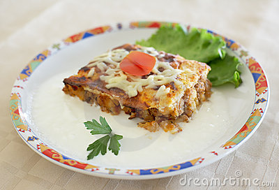Moussaka portion in a dish