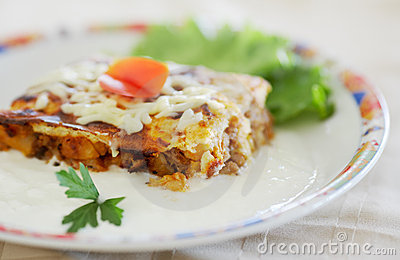 Moussaka food with Bulgarian yoghurt