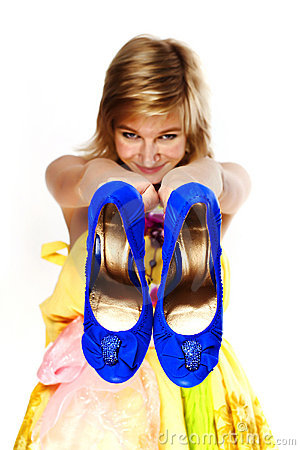 Young blonde with blue shoes