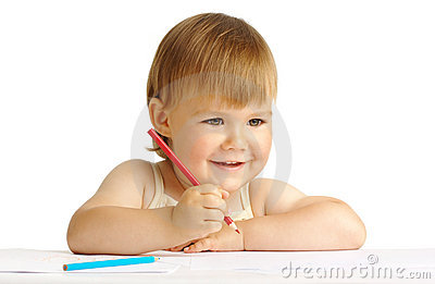 Happy child smile and draw with red crayon