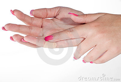 Woman hand with patch
