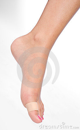 Woman foot with patch