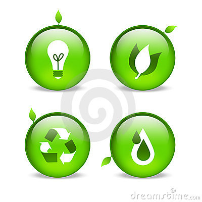 Green environmental web icons with leaf detailing