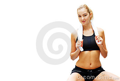 Workout Woman Against White