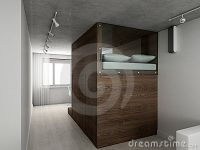 3D render modern interior of bedroom