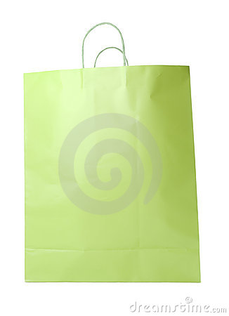 Lime Green Shopping Bag Isolated