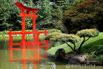 Japanese garden with torii