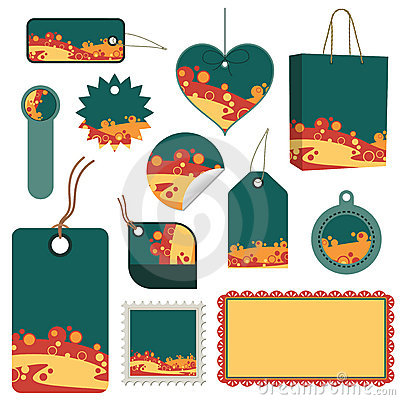 Green, orange and yellow tag set