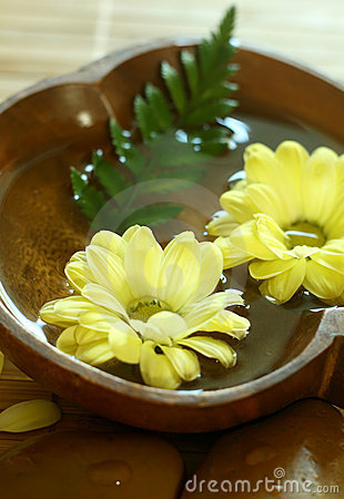 Yellow flowers floating in wooden bowl.
