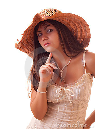 Young sexy woman in vintage hat isolated