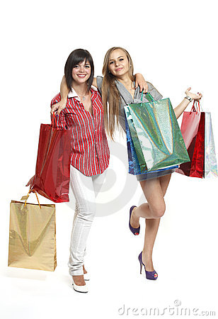 Beautiful young women shopping