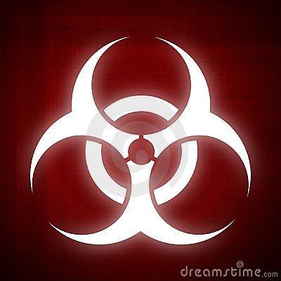 Biohazard symbol on red background