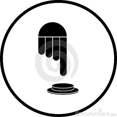 Hand pressing push button vector symbol