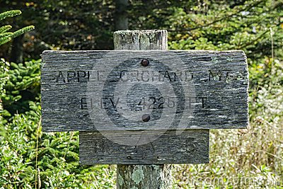Appalachian Trail Sign on Top of Apple Orchard Mountain