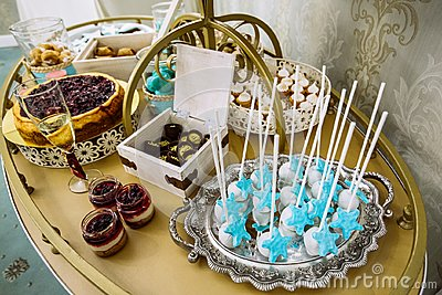 Rich thematic wedding candy bar, high variety of sweets