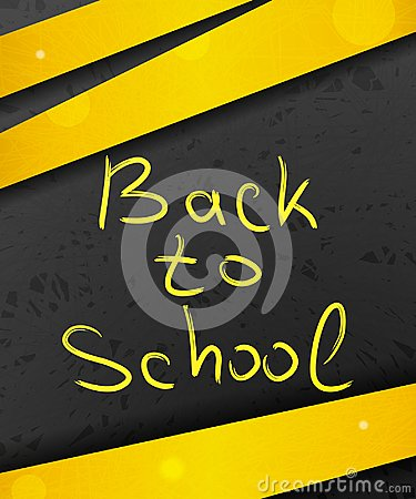 Back to school on abstract dark background with yellow lines and