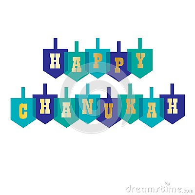 Happy chanukah typography with dreidels