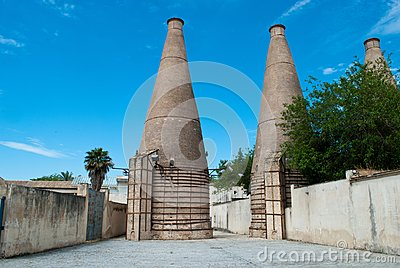 The chimneys of the ancient Cartuja monastery where the artistic tiles were once worked