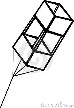 Box kite flying vector illustration