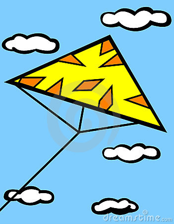 Triangle kite flying in sky vector illustration