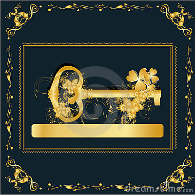 Vintage frame with gold key