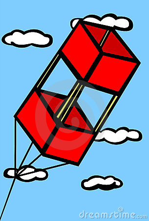 Red box kite flying in the sky vector illustration