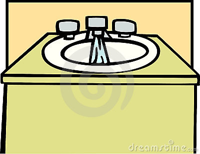 Lavatory with running water vector illustration