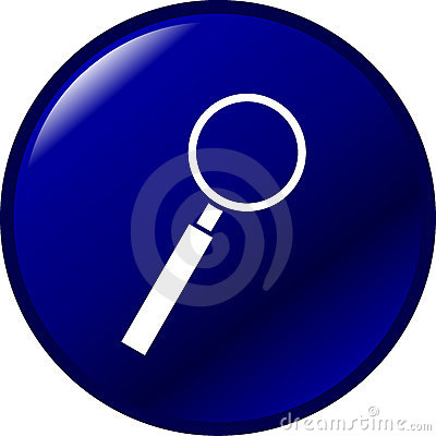 Magnifier look or search vector blue button