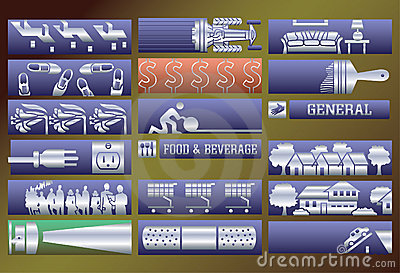 Vector services banners set.