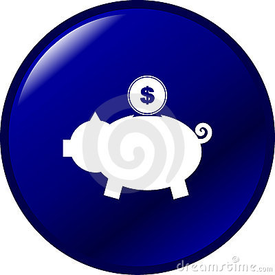 Pig bank with coin vector blue button