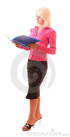 Young woman with folder isolated