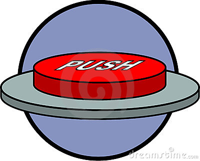 Red push button switch control vector illustration