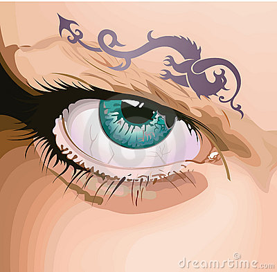 Eye with a tattoo.