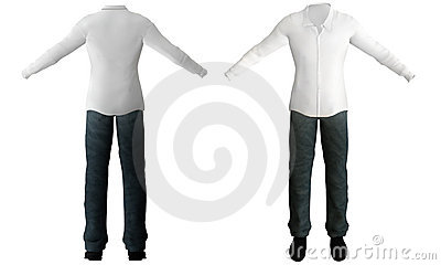 Illustration of white shirt, pants, shoes.