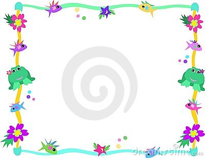 Frame of Frog, Fish, Flowers, and Stars