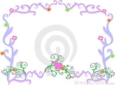 Frame of Light Purple Swirls and Flowers