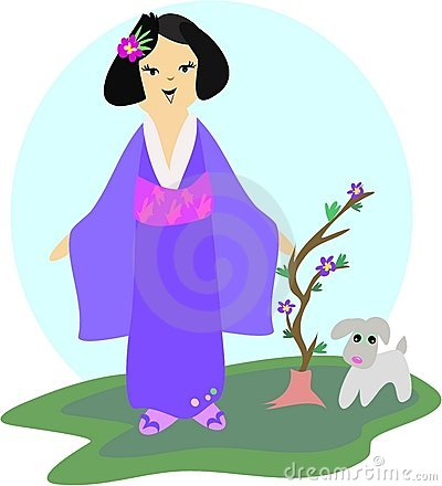 Japanese Girl with Dog and Plant