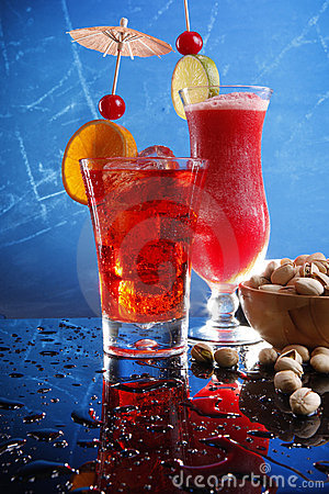 Red cocktails on blue