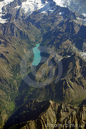 Aerial view of a mountain lake in Switzerland