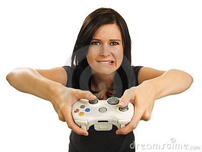 Girl plays video game