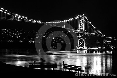 Night scene of Lions Gate Suspension Bridge