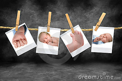 Color Photos of a Baby Boy Hanging on a Rope