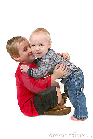 2 Brothers Hugging Eachother on White Background