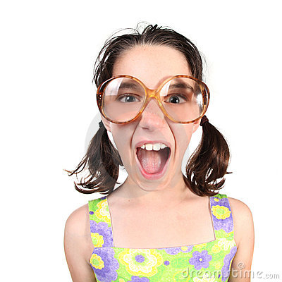 Funny Girl Wearing Large Eyeglasses Shouting