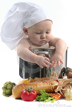 Cute Chubby Baby Chef in a Cooking Pot Looking Dow