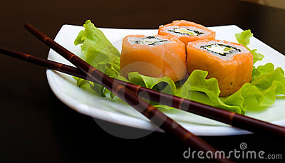 Rolled and sushi