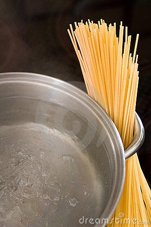 Dry spaghetti with boiling water in a pan